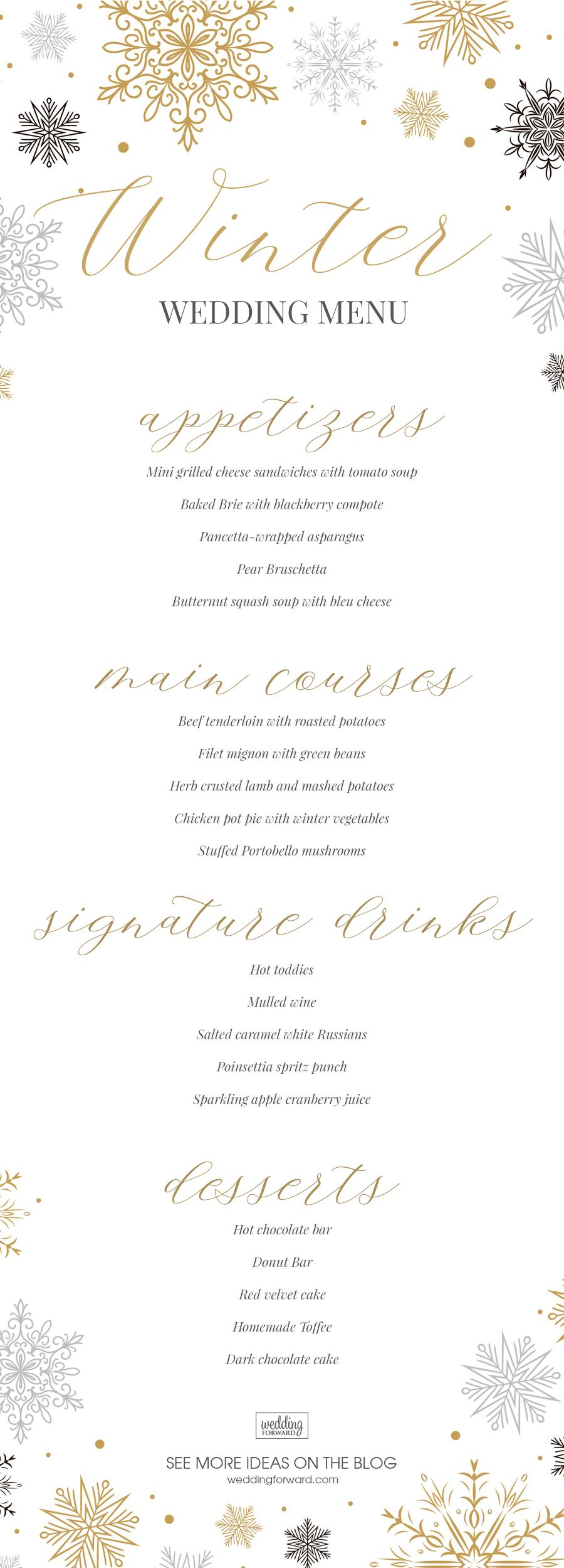 winter wedding menu - wedding menu ideas