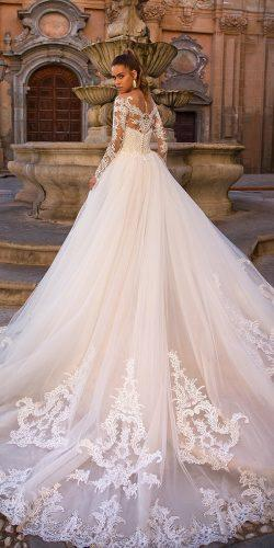 ball gown wedding dresses with illusion long sleeves tattoo back lace lussanobridal