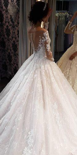 ball gown wedding dresses with long sleeves illusion back floral noranaviano sposa