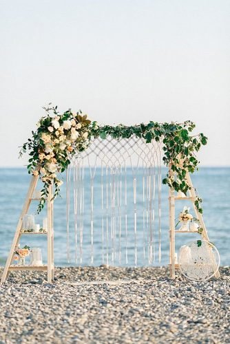 beach wedding decoration floral macrame wedding arch