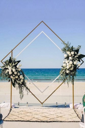 beach wedding decoration geometric flowers wedding arch