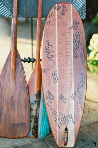 beach wedding decoration wooden surfboard wedding guest book