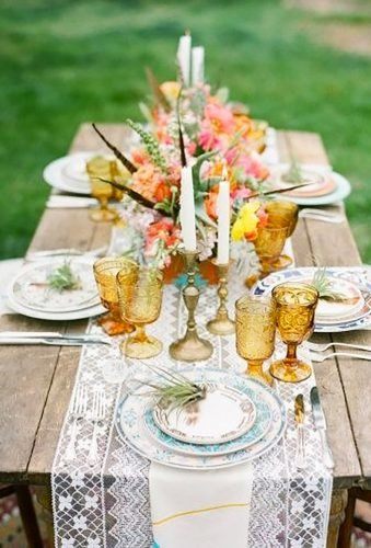 boho wedding trends lace table decor whisteriadesignandrentals