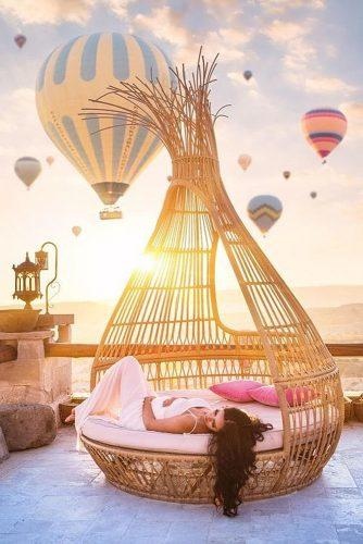 cappadocia wedding photos amazing sunset view with balloons