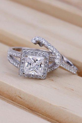 cheap engagement rings princess cut wedding set split shank halo