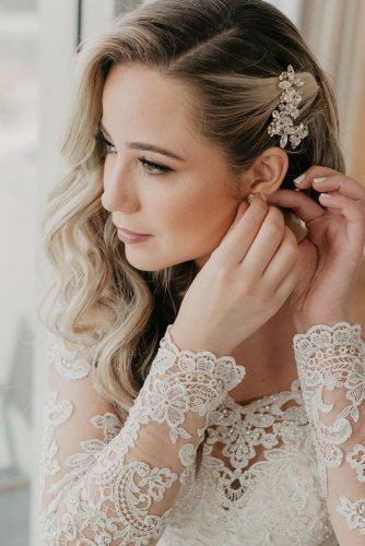 classic wedding hairstyles volume blonde curls pinned to one side stylemeelvi