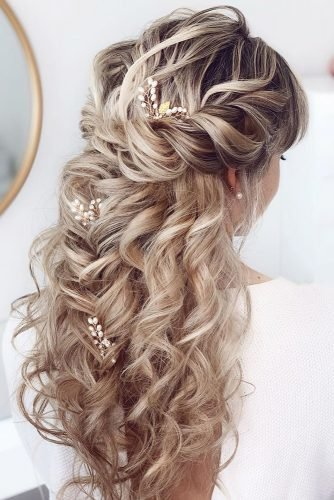 classic wedding hairstyles volume curly half up half down bridal.by.luci