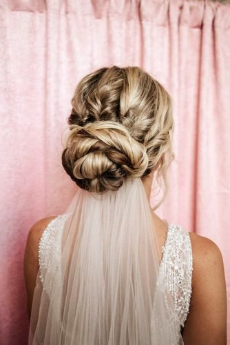 classic wedding hairstyles volume low bun with veil hairbyemmac