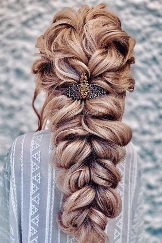classic wedding hairstyles volume mermaid braid with hairpin clairehartleystylist