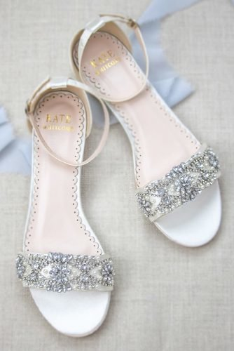 flat wedding shoes crystal stones beach katewhitcombshoes
