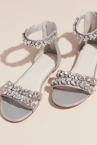 flat wedding shoes grey with crystal stones davidsbridal
