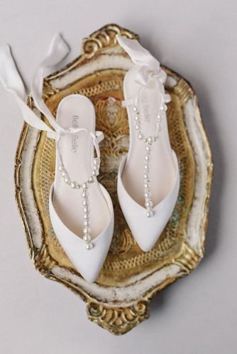 flat wedding shoes simple with pearls beach bellabelleshoes