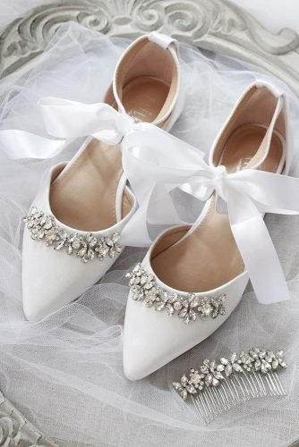 flat wedding shoes simple with stones and bow shop kaileep