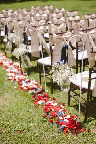 independence day wedding 4th of july ceremony blue white red rose petals in aisle rustic baby breath ashley + david photography