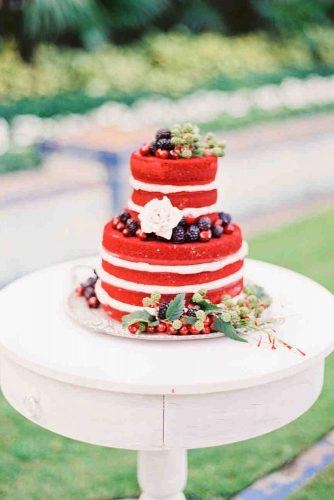 independence day wedding 4th of july naked cake red white with blue berries and fresh roses michellemarchphotography