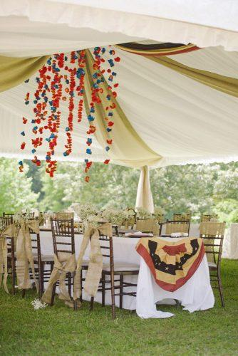 independence day wedding 4th of july reception under the tent with burlap baby breath red white and blue ashley + david photography