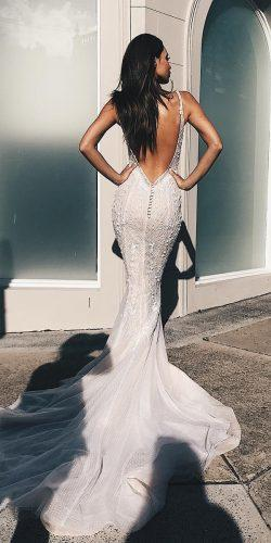 mermaid wedding dresses backless with spaghetti straps with train pallascouture