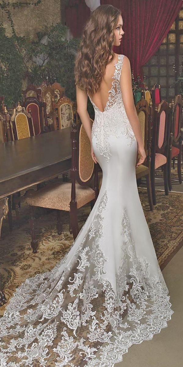 mermaid wedding dresses v back lace with train demetriosbride