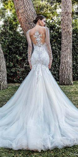 mermaid wedding dresses with illusion long sleeves tatoo effect back demetrios
