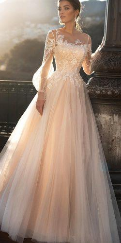 modest wedding dresses a line with illusion long sleeeves lace blush naviblue