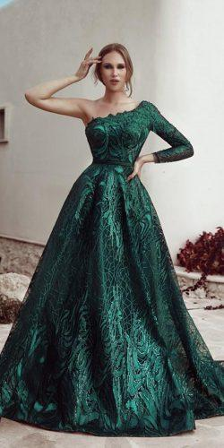second wedding dress a line green one shoulder said mhamad