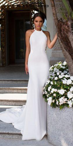 second wedding dress sheath halter neckline simple giovannaalessandro