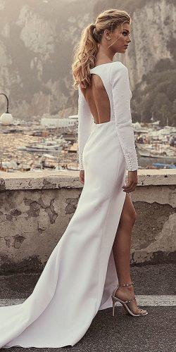 second wedding dress sheath simple with long sleeves open back oned