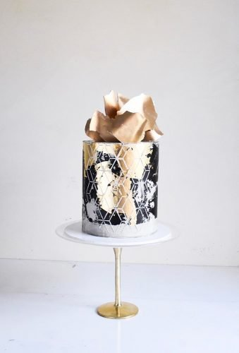 small wedding cakes black gold modern cake laombrecreations