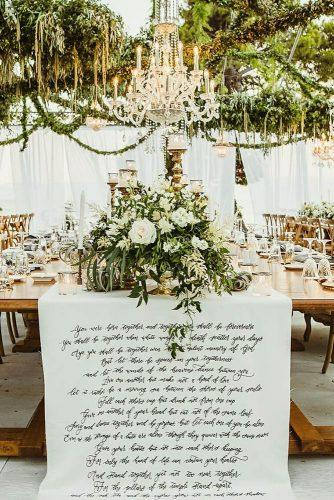 summer wedding trends tablerunner with calligraphy signs greenery and white roses ak3fotografia