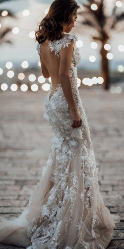 wedding dress designers sheath open back floral appliues galia lahav
