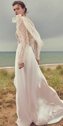 wedding dresses spring 2020 a line with illusion long sleeves silk skirt with bow costarellos