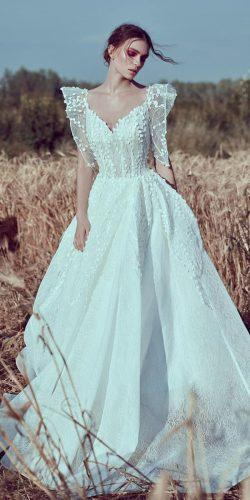 a line wedding dresses v neckline with puff sleeves floral esposagroup