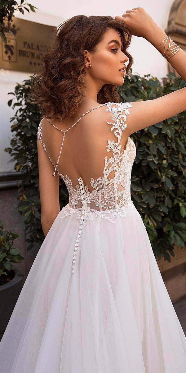 backless wedding dresses a line lace back romantic lussanobridal