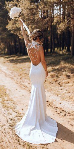 beach wedding dresses trumpet backless vintage country olganikiforova