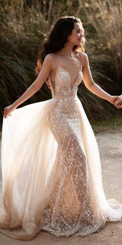 beach wedding dresses with spaghetti straps with overskirt lace deep v neckline