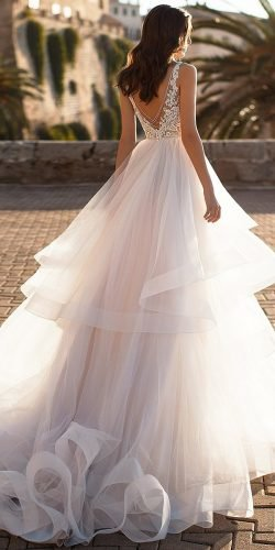 best dresses ball gown v back lace top blush navibluebridal