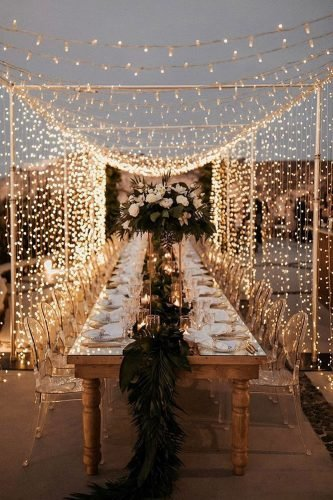 bohemian wedding ideas outdoor reception with lighting whiteonblackstudio
