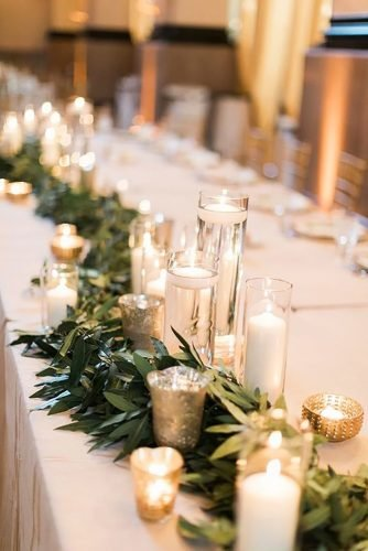 cheap wedding decorations candle and greenery table runner Cory Jackie