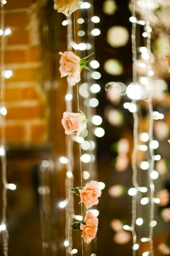 cheap wedding decorations light and flowers megan welker photography