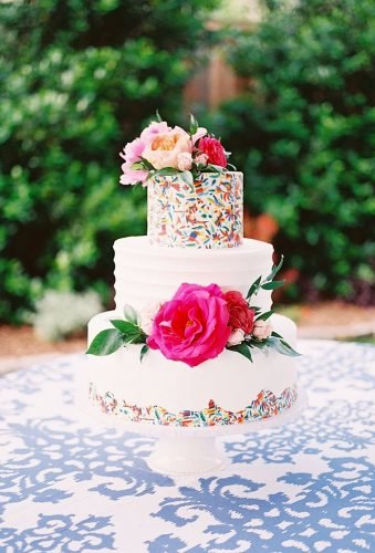 colored wedding cakes floral watercolor cake katepeasephotography