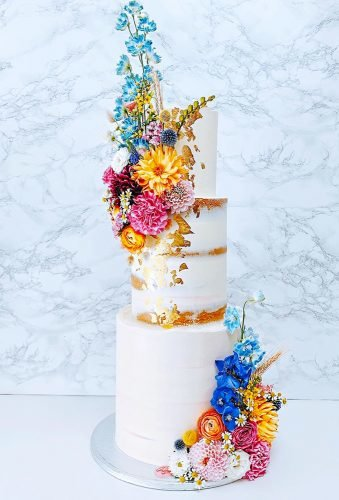 colored wedding cakes white cake with metallic details gardenofsweets
