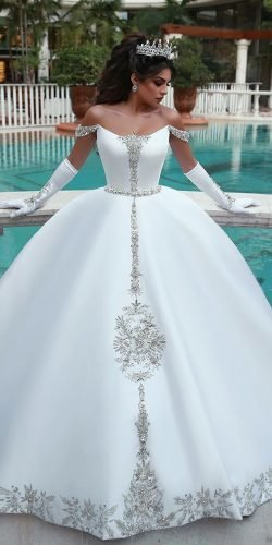 disney wedding dresses ball gown off the shoulder with gloves beaded cinderella saidmhamadofficial