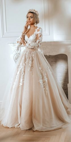 disney wedding dresses ball gown with long sleeves lace floral beige for belle auroracouture