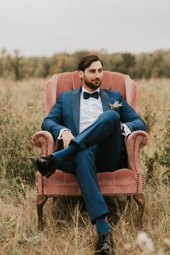 groom attire blue jacket with bow tie country haywood honey