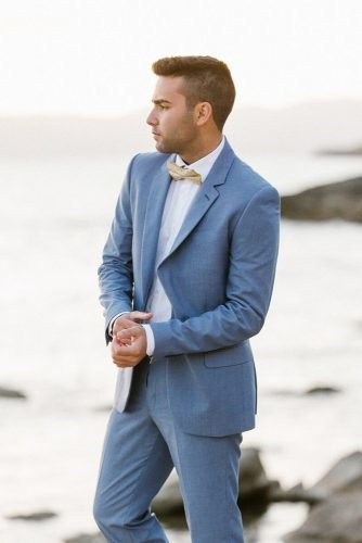 mens wedding attire blue jacket with bow tie chris photography
