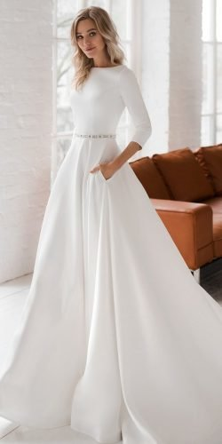 modest wedding dresses princess simple with long sleeves elegant dom vesta