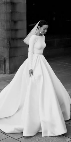 modest wedding dresses simple ball gown with long sleeves steven khalil