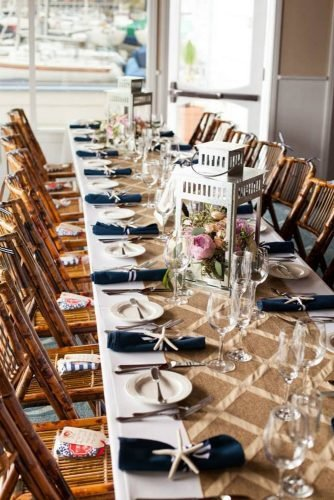 nautical wedding burlap tablerunner white lantern centerpiece with flowers studio 28 photography