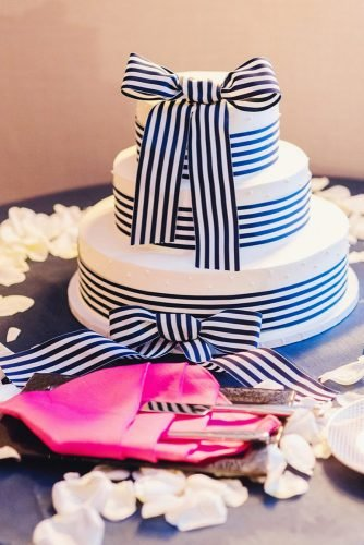 nautical wedding tree tired white cake with ribbons zofia & co