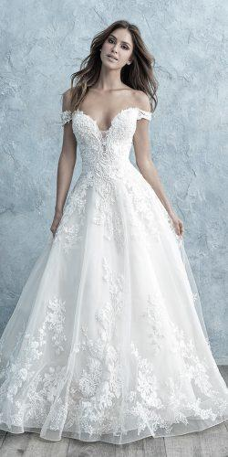 off the shoulder wedding dresses a line sweetheart neckline lace romantic lace allurebridals